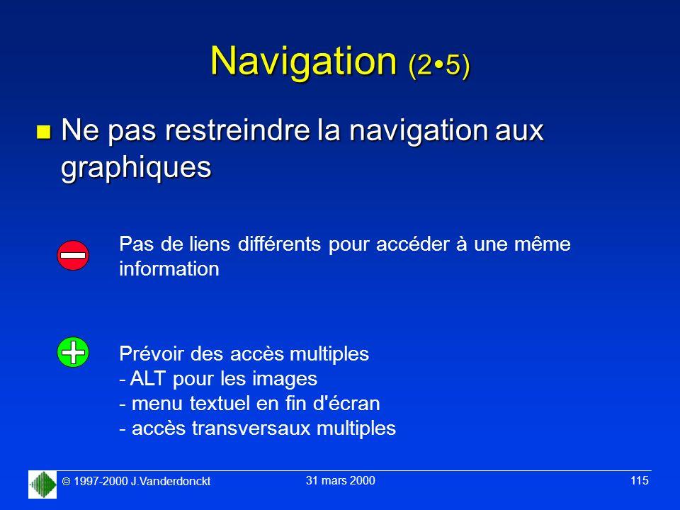 1997-2000 J.Vanderdonckt 31 mars 2000 115 Navigation (2 5) n Ne pas restreindre la navigation aux graphiques Pas de liens différents pour accéder à un