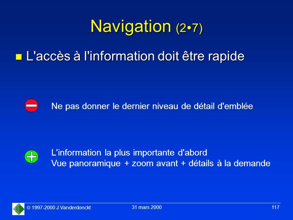 1997-2000 J.Vanderdonckt 31 mars 2000 117 Navigation (2 7) n L'accès à l'information doit être rapide Ne pas donner le dernier niveau de détail d'embl