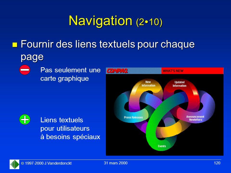 1997-2000 J.Vanderdonckt 31 mars 2000 120 Navigation (2 10) n Fournir des liens textuels pour chaque page Pas seulement une carte graphique Liens text