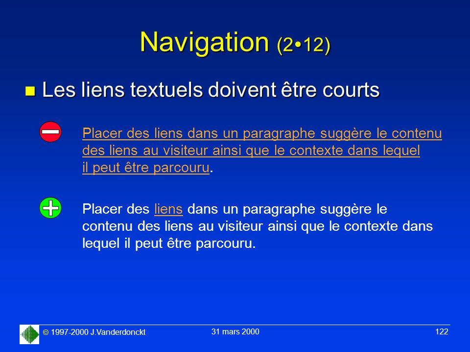 1997-2000 J.Vanderdonckt 31 mars 2000 122 Navigation (2 12) n Les liens textuels doivent être courts Placer des liens dans un paragraphe suggère le co