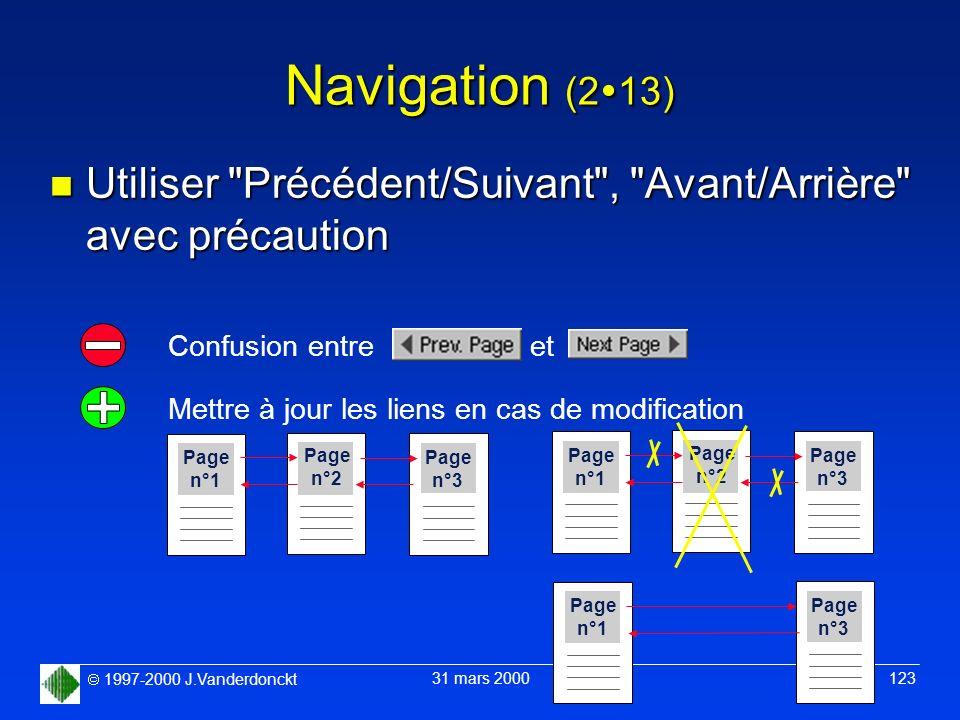 1997-2000 J.Vanderdonckt 31 mars 2000 123 Navigation (2 13) n Utiliser