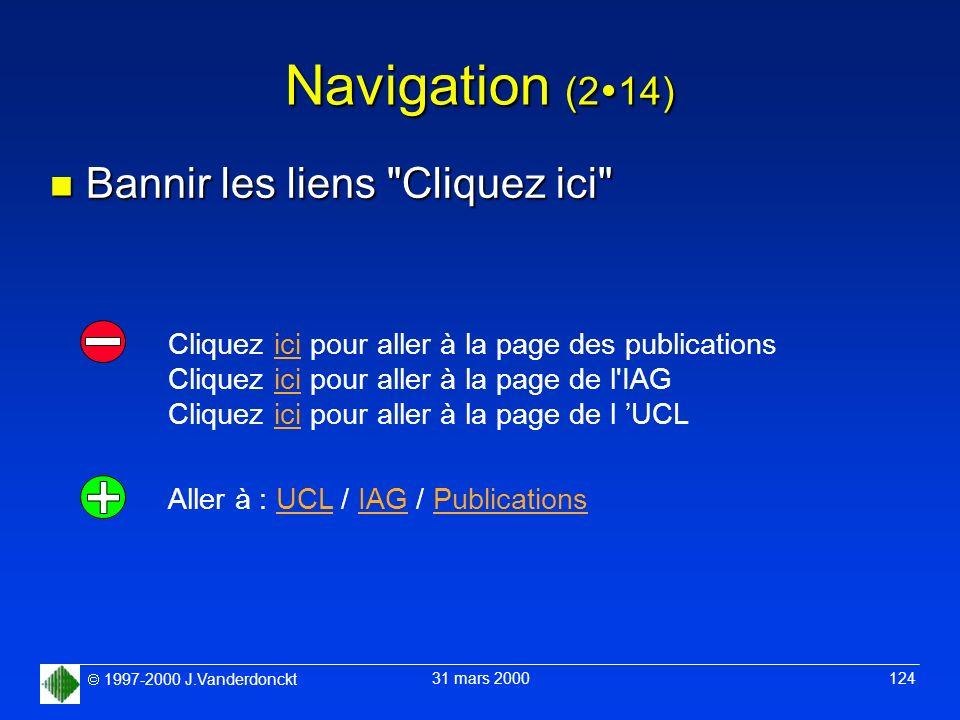 1997-2000 J.Vanderdonckt 31 mars 2000 124 Navigation (2 14) n Bannir les liens