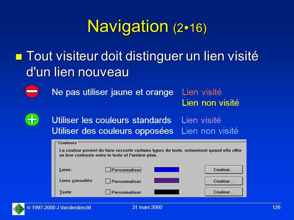 1997-2000 J.Vanderdonckt 31 mars 2000 126 Navigation (2 16) n Tout visiteur doit distinguer un lien visité d'un lien nouveau Lien visité Lien non visi