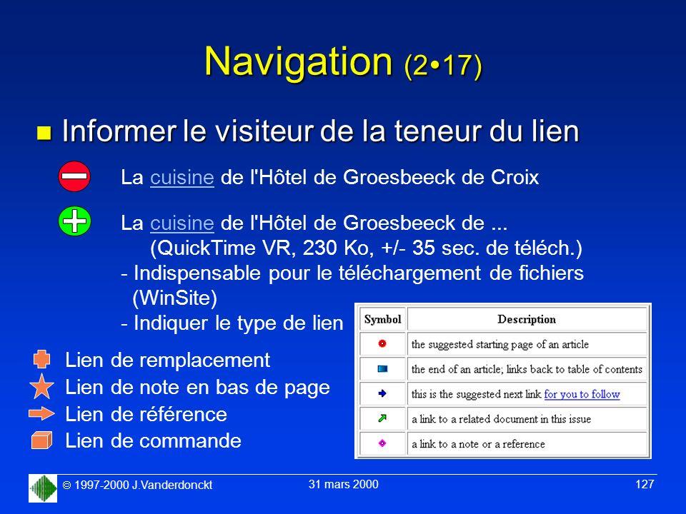1997-2000 J.Vanderdonckt 31 mars 2000 127 Navigation (2 17) n Informer le visiteur de la teneur du lien La cuisine de l'Hôtel de Groesbeeck de Croix L