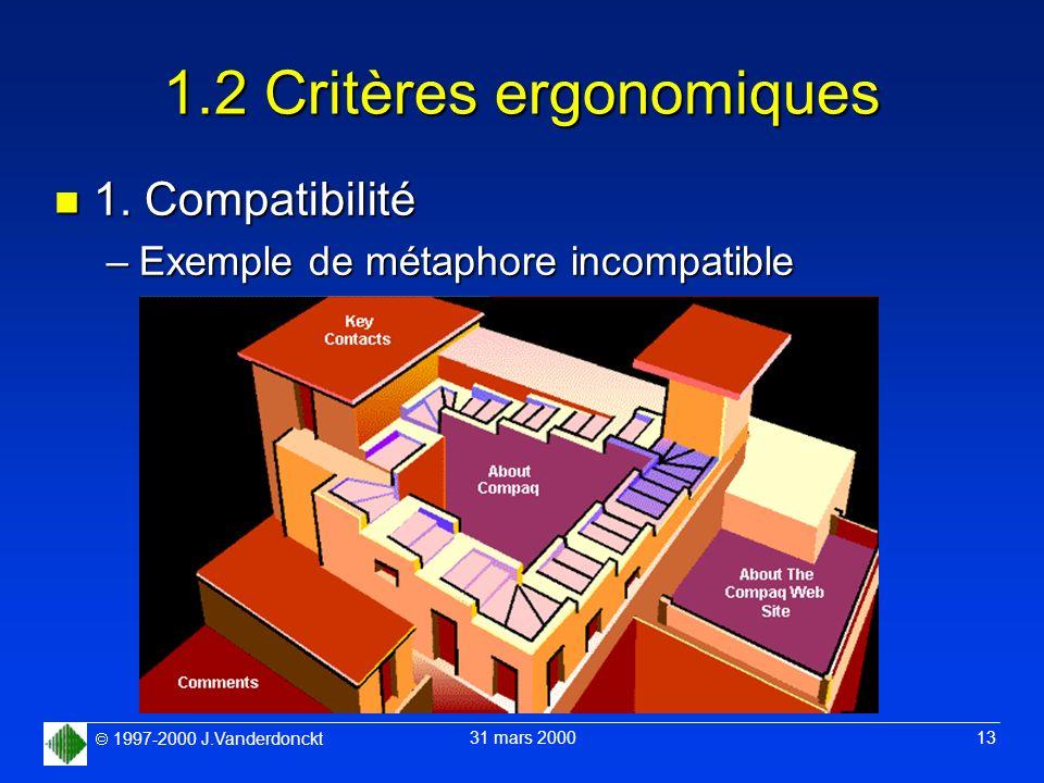 1997-2000 J.Vanderdonckt 31 mars 2000 13 1.2 Critères ergonomiques n 1. Compatibilité –Exemple de métaphore incompatible