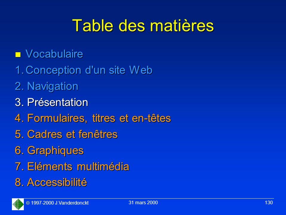 1997-2000 J.Vanderdonckt 31 mars 2000 130 Table des matières n Vocabulaire 1.Conception d'un site Web 2. Navigation 3. Présentation 4. Formulaires, ti