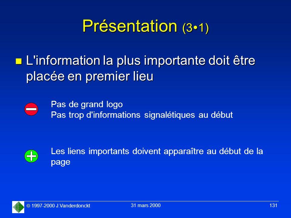 1997-2000 J.Vanderdonckt 31 mars 2000 131 Présentation (3 1) n L'information la plus importante doit être placée en premier lieu Pas de grand logo Pas
