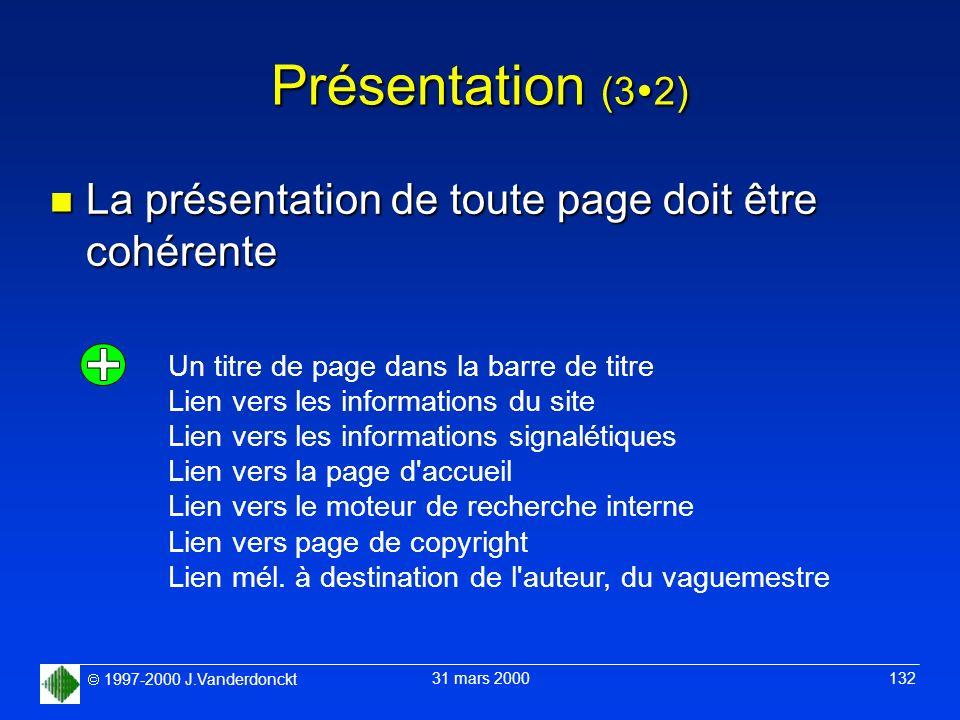 1997-2000 J.Vanderdonckt 31 mars 2000 132 Présentation (3 2) n La présentation de toute page doit être cohérente Un titre de page dans la barre de tit