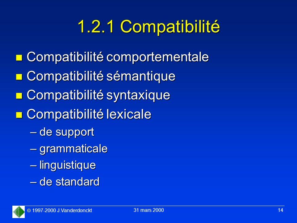 1997-2000 J.Vanderdonckt 31 mars 2000 14 1.2.1 Compatibilité n Compatibilité comportementale n Compatibilité sémantique n Compatibilité syntaxique n C