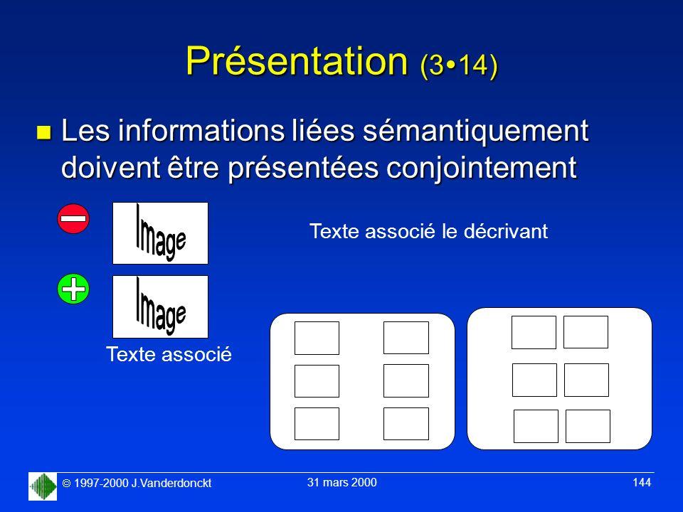 1997-2000 J.Vanderdonckt 31 mars 2000 144 Présentation (3 14) n Les informations liées sémantiquement doivent être présentées conjointement Texte asso
