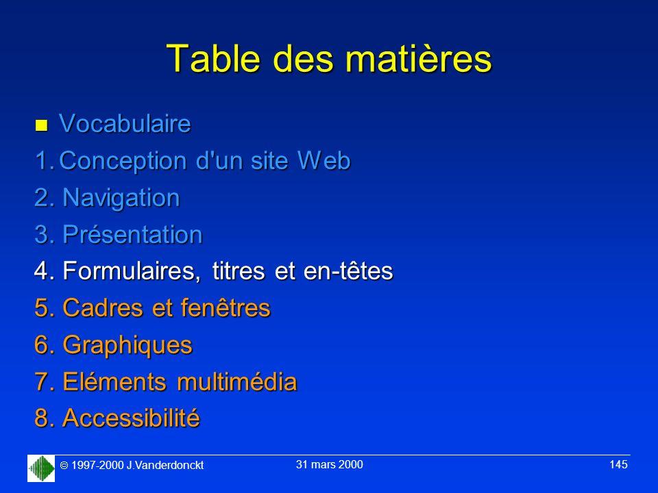 1997-2000 J.Vanderdonckt 31 mars 2000 145 Table des matières n Vocabulaire 1.Conception d'un site Web 2. Navigation 3. Présentation 4. Formulaires, ti