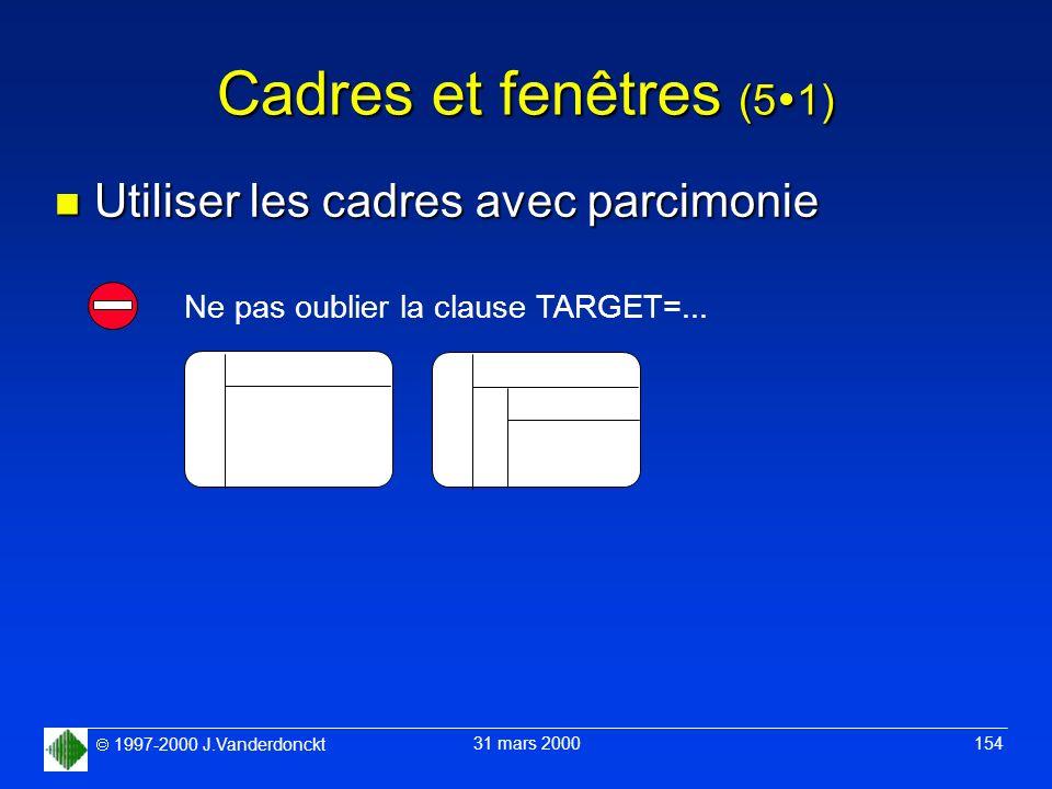 1997-2000 J.Vanderdonckt 31 mars 2000 154 Cadres et fenêtres (5 1) n Utiliser les cadres avec parcimonie Ne pas oublier la clause TARGET=...