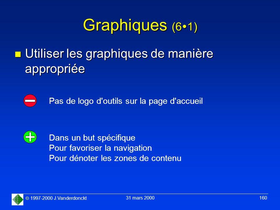 1997-2000 J.Vanderdonckt 31 mars 2000 160 Graphiques (6 1) n Utiliser les graphiques de manière appropriée Pas de logo d'outils sur la page d'accueil