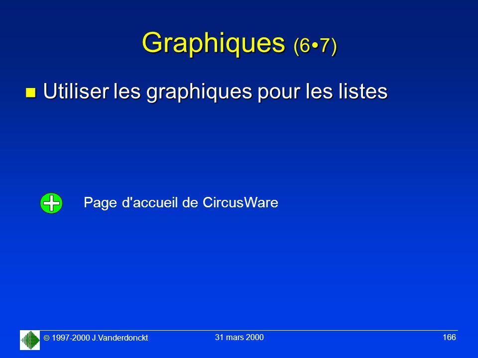 1997-2000 J.Vanderdonckt 31 mars 2000 166 Graphiques (6 7) n Utiliser les graphiques pour les listes Page d'accueil de CircusWare