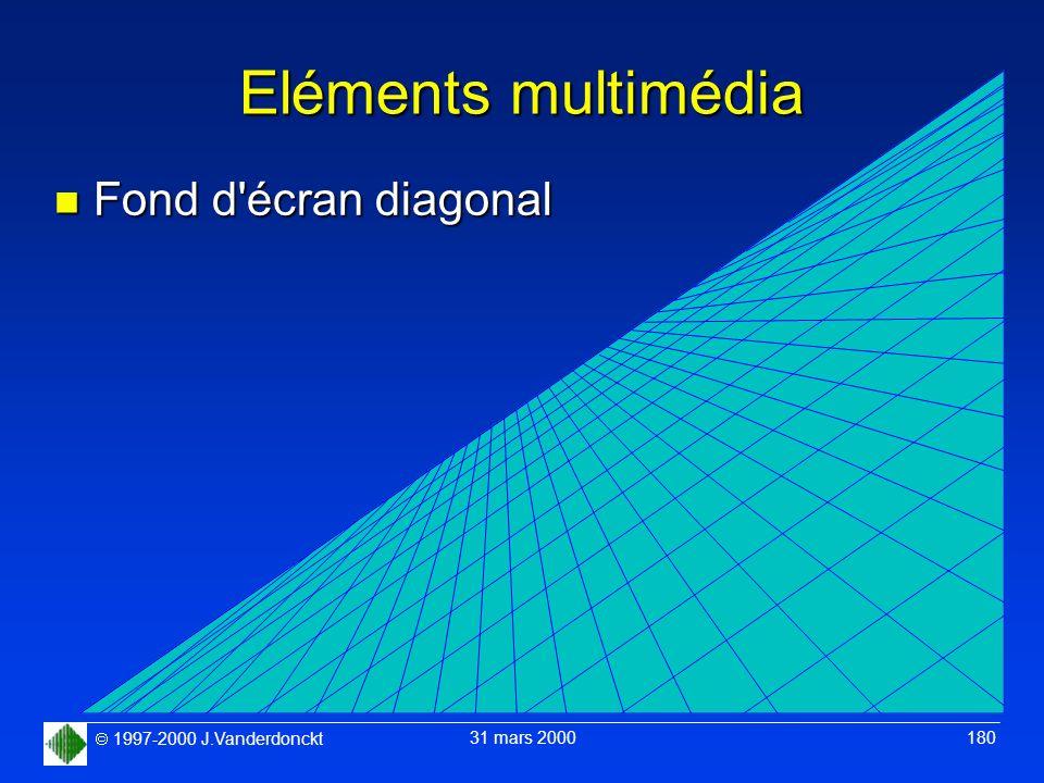 1997-2000 J.Vanderdonckt 31 mars 2000 180 Eléments multimédia n Fond d'écran diagonal
