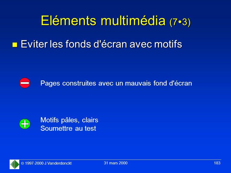 1997-2000 J.Vanderdonckt 31 mars 2000 183 Eléments multimédia (7 3) n Eviter les fonds d'écran avec motifs Motifs pâles, clairs Soumettre au test Page