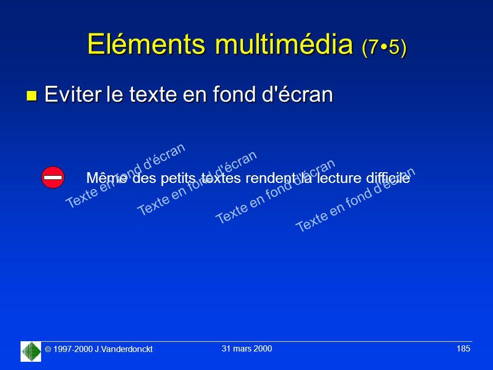 1997-2000 J.Vanderdonckt 31 mars 2000 185 Eléments multimédia (7 5) n Eviter le texte en fond d'écran Même des petits textes rendent la lecture diffic