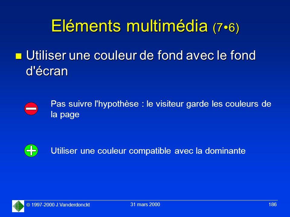 1997-2000 J.Vanderdonckt 31 mars 2000 186 Eléments multimédia (7 6) n Utiliser une couleur de fond avec le fond d'écran Utiliser une couleur compatibl