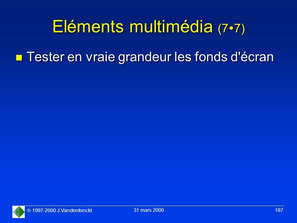 1997-2000 J.Vanderdonckt 31 mars 2000 187 Eléments multimédia (7 7) n Tester en vraie grandeur les fonds d'écran