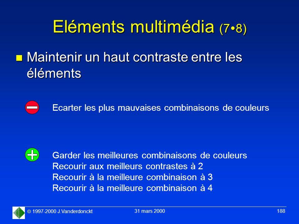 1997-2000 J.Vanderdonckt 31 mars 2000 188 Eléments multimédia (7 8) n Maintenir un haut contraste entre les éléments Garder les meilleures combinaison
