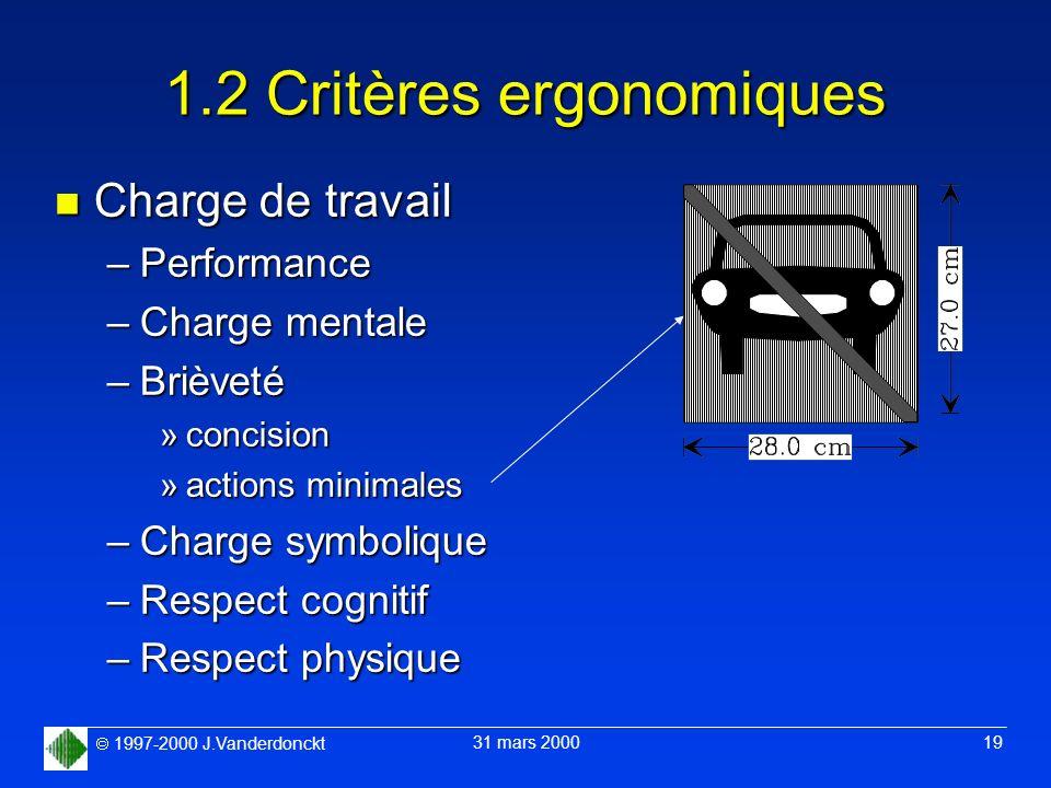 1997-2000 J.Vanderdonckt 31 mars 2000 19 1.2 Critères ergonomiques n Charge de travail –Performance –Charge mentale –Brièveté »concision »actions mini