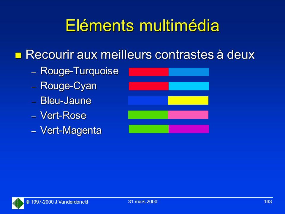 1997-2000 J.Vanderdonckt 31 mars 2000 193 Eléments multimédia n Recourir aux meilleurs contrastes à deux – Rouge-Turquoise – Rouge-Cyan – Bleu-Jaune –