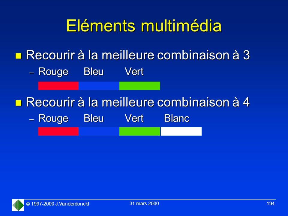 1997-2000 J.Vanderdonckt 31 mars 2000 194 Eléments multimédia n Recourir à la meilleure combinaison à 3 – Rouge Bleu Vert n Recourir à la meilleure co