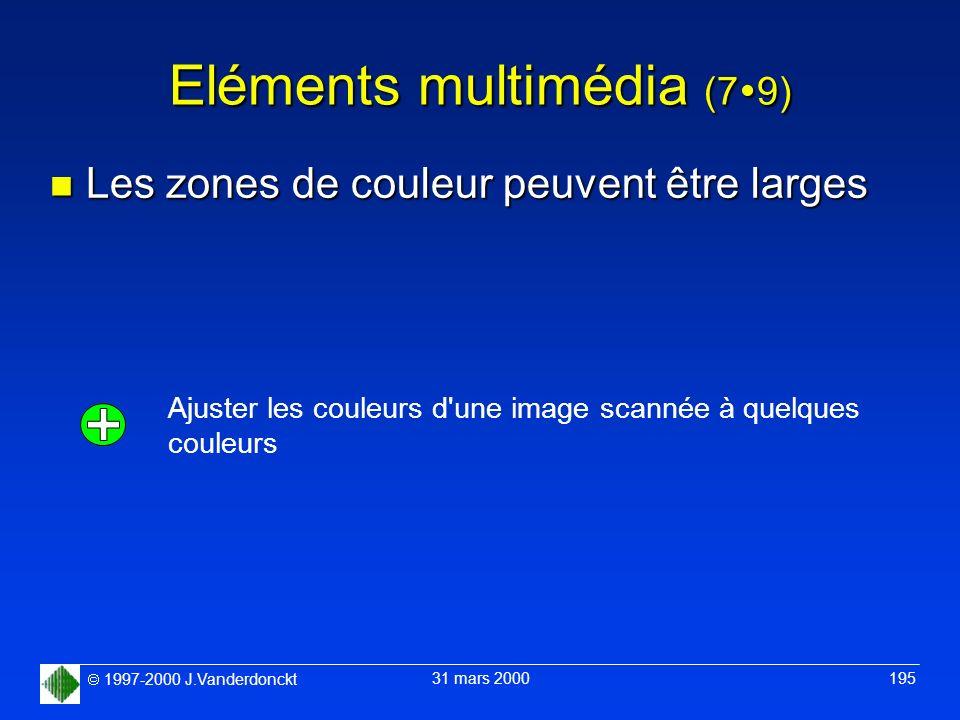 1997-2000 J.Vanderdonckt 31 mars 2000 195 Eléments multimédia (7 9) n Les zones de couleur peuvent être larges Ajuster les couleurs d'une image scanné