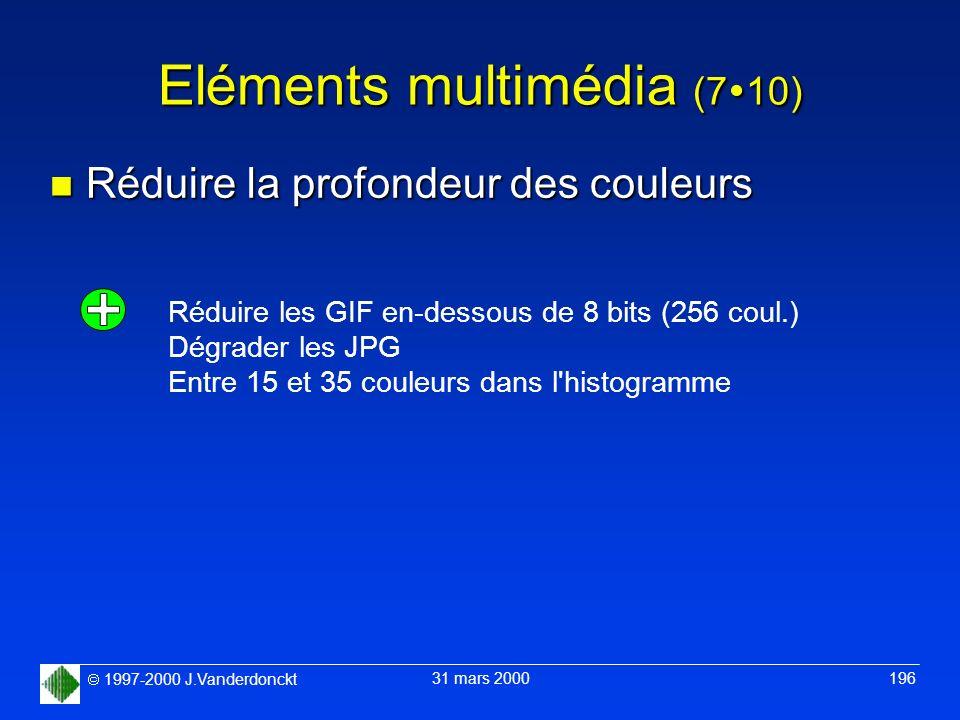 1997-2000 J.Vanderdonckt 31 mars 2000 196 Eléments multimédia (7 10) n Réduire la profondeur des couleurs Réduire les GIF en-dessous de 8 bits (256 co