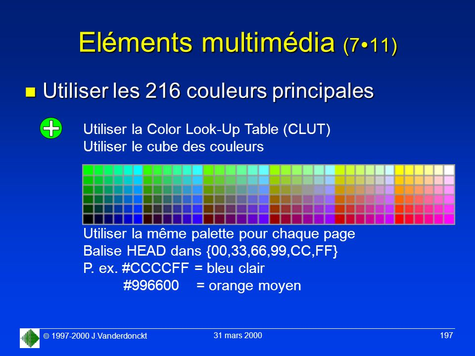 1997-2000 J.Vanderdonckt 31 mars 2000 197 Eléments multimédia (7 11) n Utiliser les 216 couleurs principales Utiliser la Color Look-Up Table (CLUT) Ut