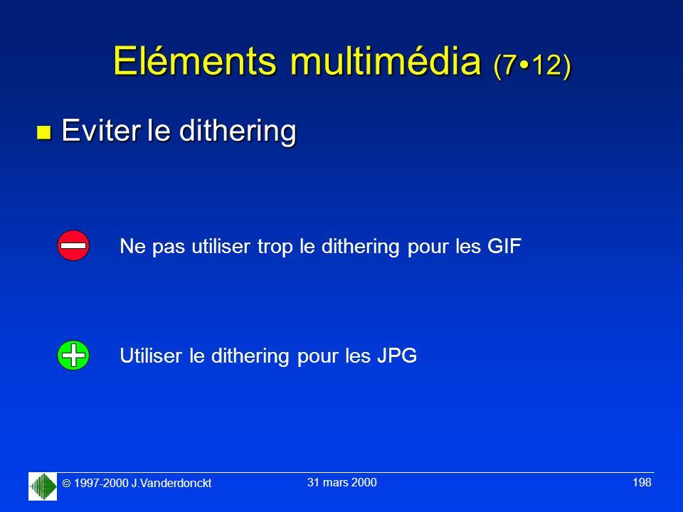 1997-2000 J.Vanderdonckt 31 mars 2000 198 Eléments multimédia (7 12) n Eviter le dithering Utiliser le dithering pour les JPG Ne pas utiliser trop le