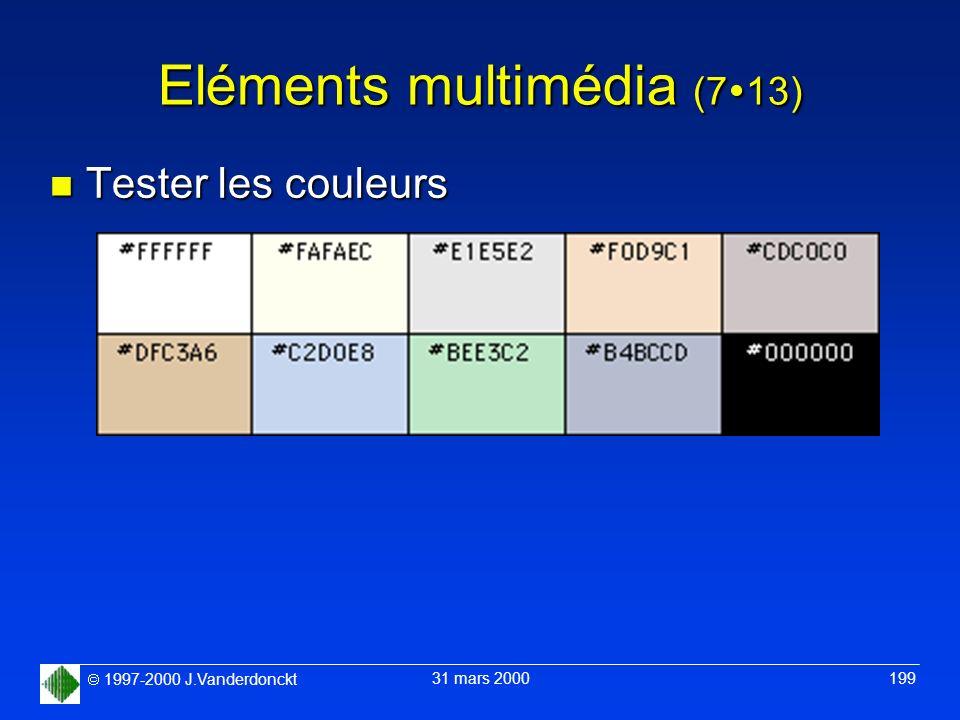 1997-2000 J.Vanderdonckt 31 mars 2000 199 Eléments multimédia (7 13) n Tester les couleurs