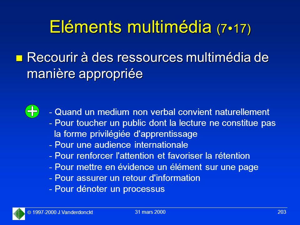 1997-2000 J.Vanderdonckt 31 mars 2000 203 Eléments multimédia (7 17) n Recourir à des ressources multimédia de manière appropriée - Quand un medium no