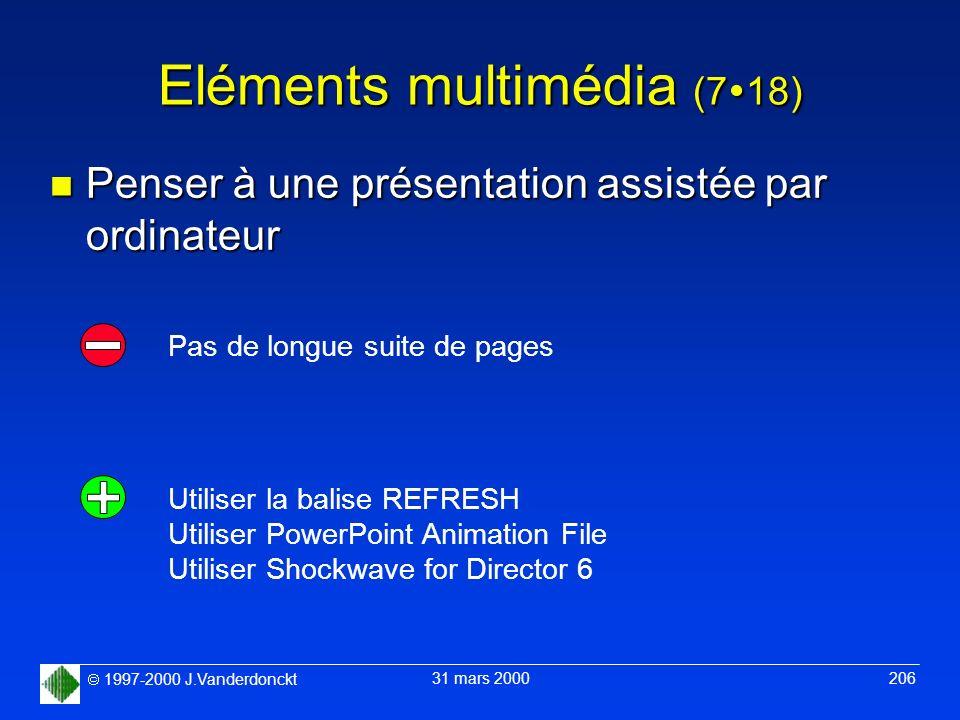 1997-2000 J.Vanderdonckt 31 mars 2000 206 Eléments multimédia (7 18) n Penser à une présentation assistée par ordinateur Utiliser la balise REFRESH Ut