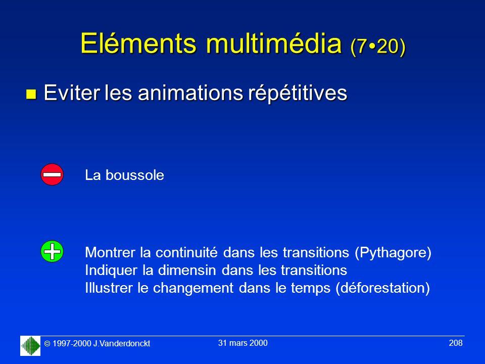 1997-2000 J.Vanderdonckt 31 mars 2000 208 Eléments multimédia (7 20) n Eviter les animations répétitives Montrer la continuité dans les transitions (P