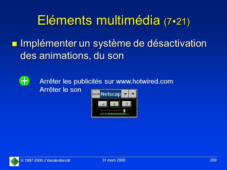 1997-2000 J.Vanderdonckt 31 mars 2000 209 Eléments multimédia (7 21) n Implémenter un système de désactivation des animations, du son Arrêter les publ
