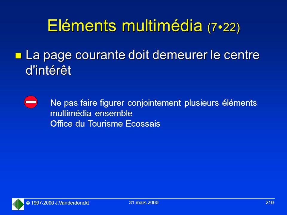 1997-2000 J.Vanderdonckt 31 mars 2000 210 Eléments multimédia (7 22) n La page courante doit demeurer le centre d'intérêt Ne pas faire figurer conjoin