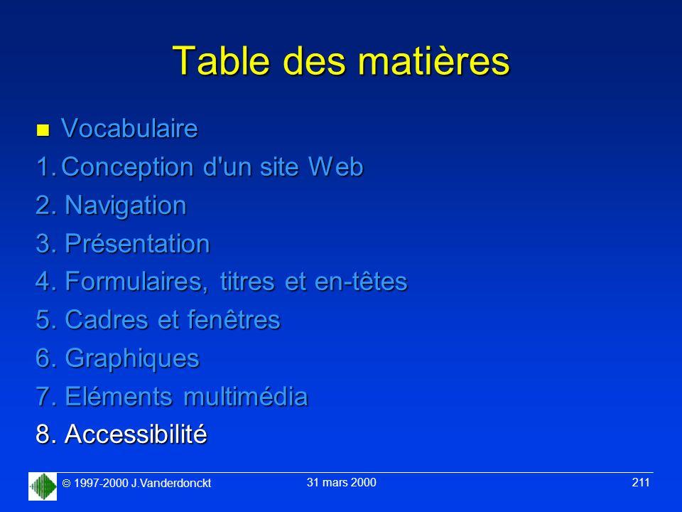 1997-2000 J.Vanderdonckt 31 mars 2000 211 Table des matières n Vocabulaire 1.Conception d'un site Web 2. Navigation 3. Présentation 4. Formulaires, ti