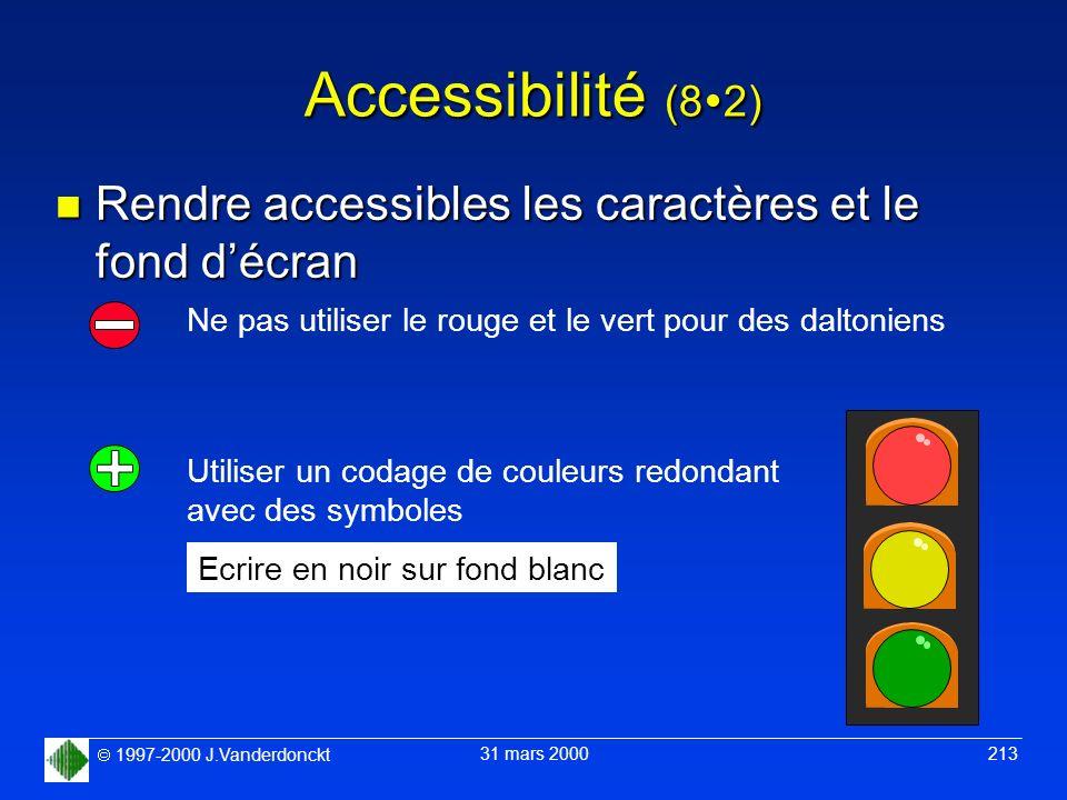 1997-2000 J.Vanderdonckt 31 mars 2000 213 Accessibilité (8 2) n Rendre accessibles les caractères et le fond décran Ne pas utiliser le rouge et le ver