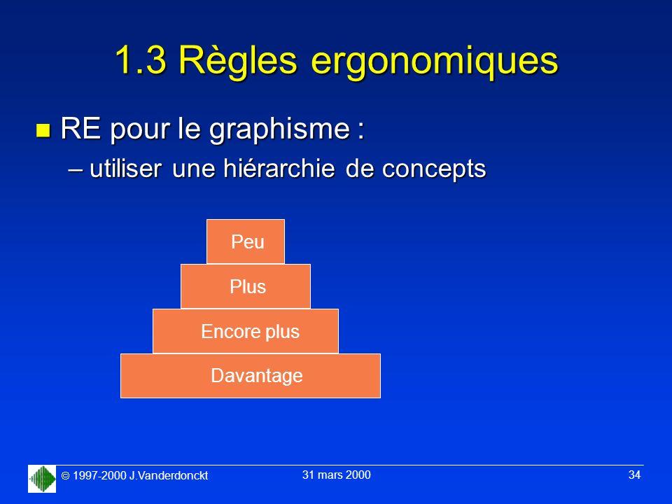 1997-2000 J.Vanderdonckt 31 mars 2000 34 1.3 Règles ergonomiques n RE pour le graphisme : –utiliser une hiérarchie de concepts PeuPlusEncore plusDavan