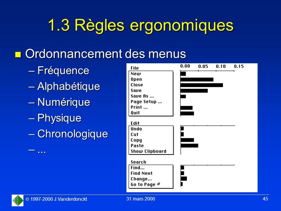 1997-2000 J.Vanderdonckt 31 mars 2000 45 1.3 Règles ergonomiques n Ordonnancement des menus –Fréquence –Alphabétique –Numérique –Physique –Chronologiq