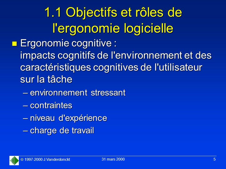 1997-2000 J.Vanderdonckt 31 mars 2000 5 1.1 Objectifs et rôles de l'ergonomie logicielle n Ergonomie cognitive : impacts cognitifs de l'environnement