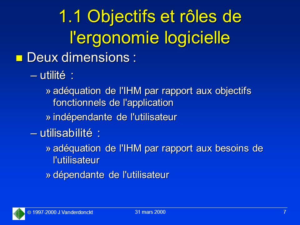 1997-2000 J.Vanderdonckt 31 mars 2000 7 1.1 Objectifs et rôles de l'ergonomie logicielle n Deux dimensions : –utilité : »adéquation de l'IHM par rappo