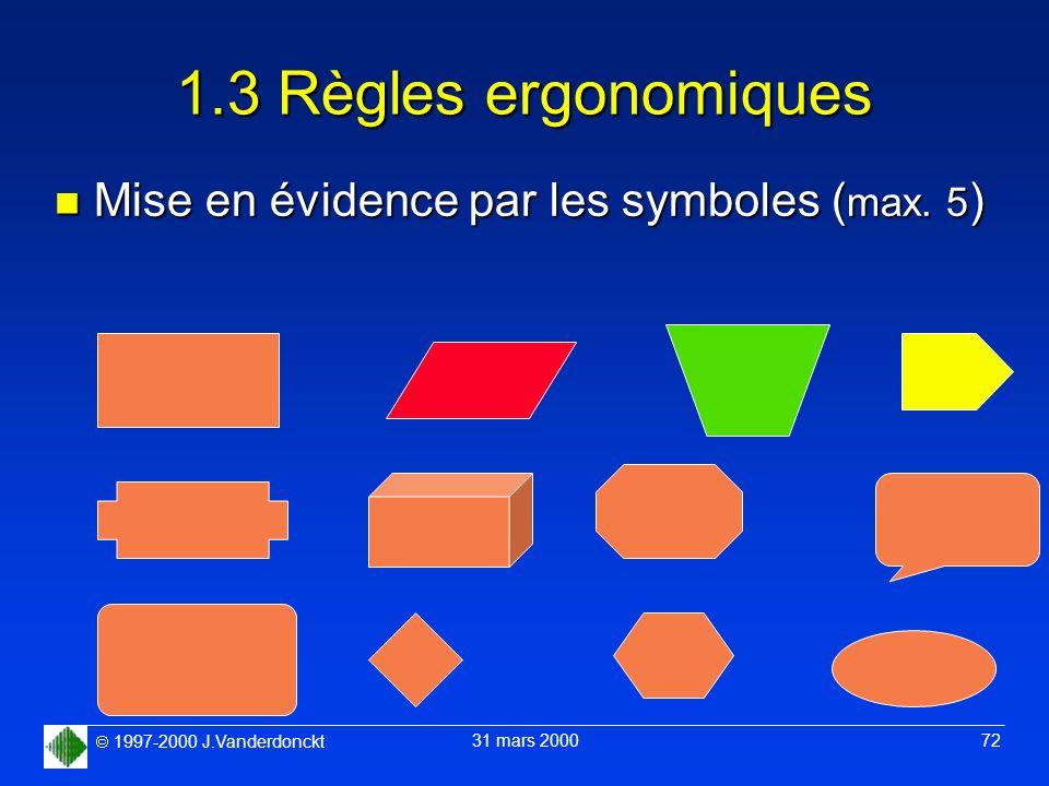 1997-2000 J.Vanderdonckt 31 mars 2000 72 1.3 Règles ergonomiques n Mise en évidence par les symboles ( max. 5 )