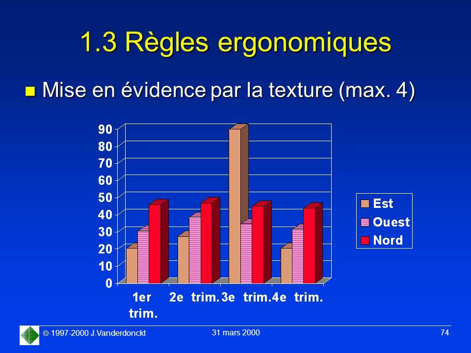 1997-2000 J.Vanderdonckt 31 mars 2000 74 1.3 Règles ergonomiques n Mise en évidence par la texture (max. 4)