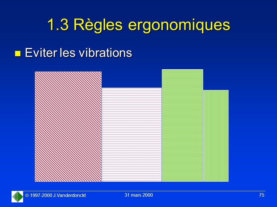 1997-2000 J.Vanderdonckt 31 mars 2000 75 1.3 Règles ergonomiques n Eviter les vibrations