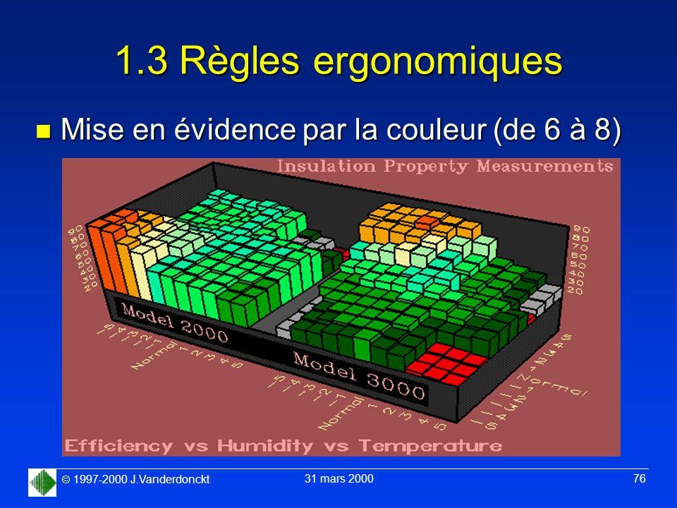 1997-2000 J.Vanderdonckt 31 mars 2000 76 1.3 Règles ergonomiques n Mise en évidence par la couleur (de 6 à 8)