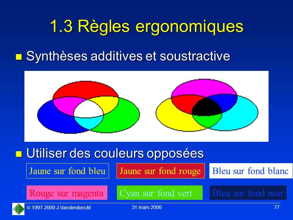 1997-2000 J.Vanderdonckt 31 mars 2000 77 1.3 Règles ergonomiques n Synthèses additives et soustractive n Utiliser des couleurs opposées Jaune sur fond