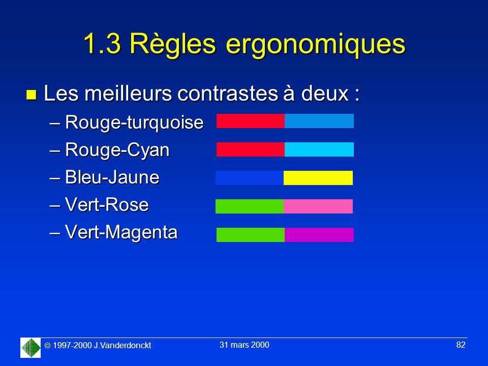 1997-2000 J.Vanderdonckt 31 mars 2000 82 1.3 Règles ergonomiques n Les meilleurs contrastes à deux : –Rouge-turquoise –Rouge-Cyan –Bleu-Jaune –Vert-Ro