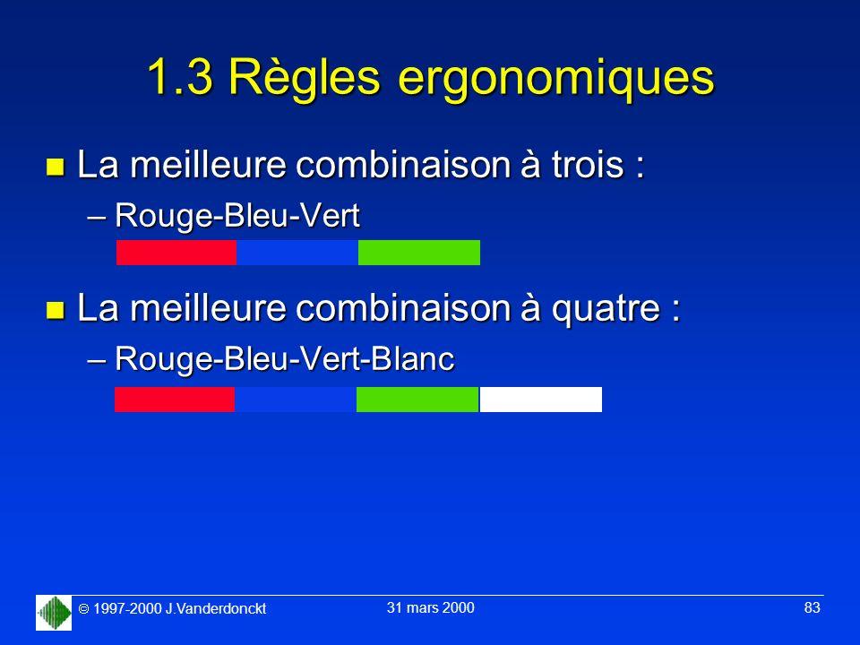 1997-2000 J.Vanderdonckt 31 mars 2000 83 1.3 Règles ergonomiques n La meilleure combinaison à trois : –Rouge-Bleu-Vert n La meilleure combinaison à qu